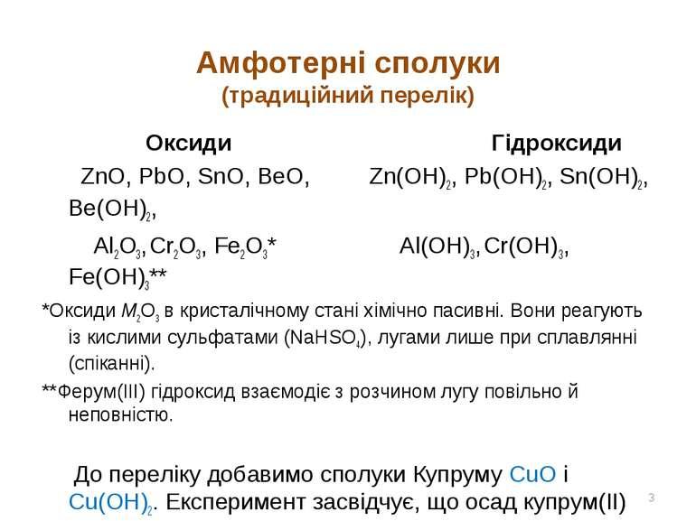 Амфотерні сполуки (традиційний перелік) Оксиди Гідроксиди ZnO, PbO, SnO, BeO,...