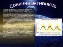 Со нячна акти вність — термін, що характеризує поточну сонячну радіацію, її с...