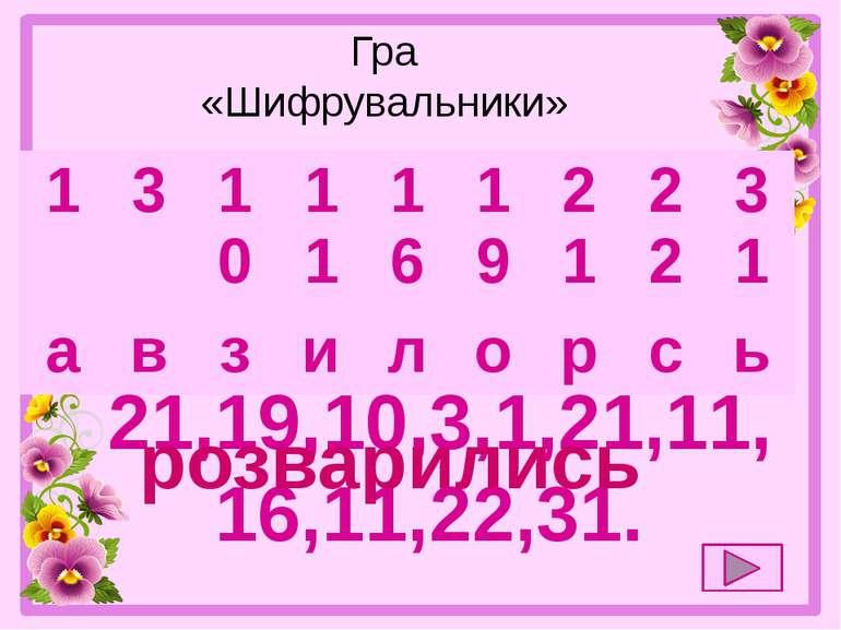 Гра «Шифрувальники» 21,19,10,3,1,21,11,16,11,22,31. розварились 1 3 10 11 1...