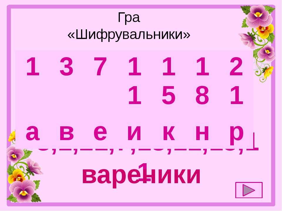 Гра «Шифрувальники» 3,1,21,7,18,11,15,11 вареники 1 3 7 11 15 18 21 а в е и...
