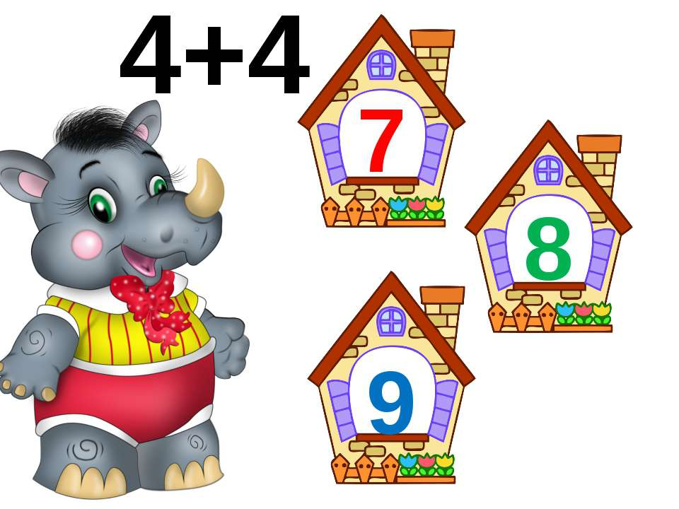 1+4=5 2+4=6 3+4=7 4+4=8 5+4=9 6+4=10