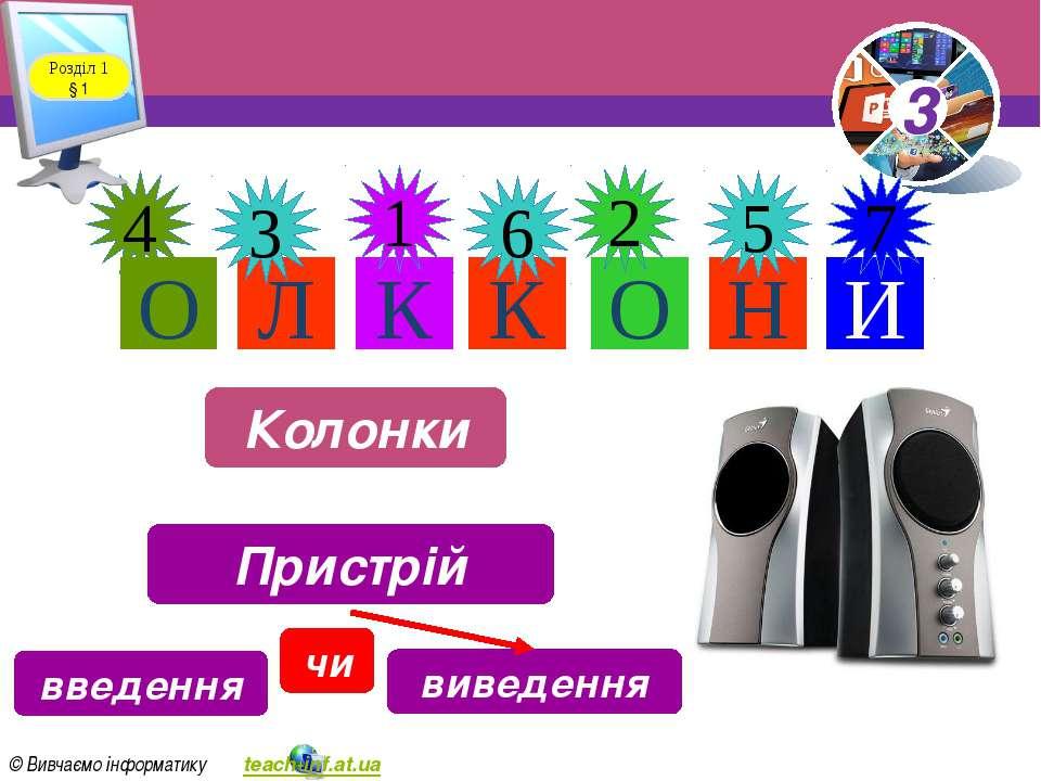Л К К О 4 1 6 2 Н И 5 7 О 3 Розділ 1 § 1 Колонки Пристрій введення виведення ...