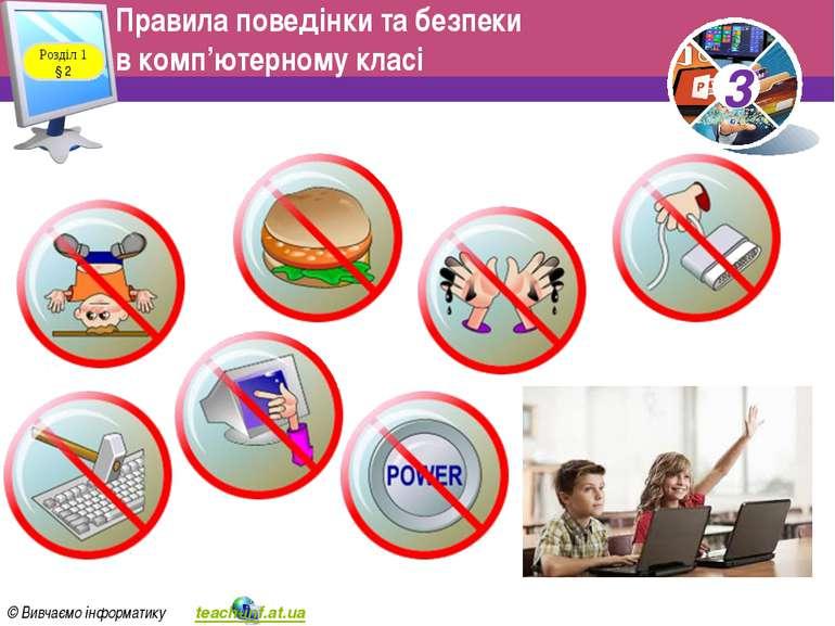 Правила поведінки та безпеки в комп'ютерному класі Розділ 1 § 2 3 © Вивчаємо ...