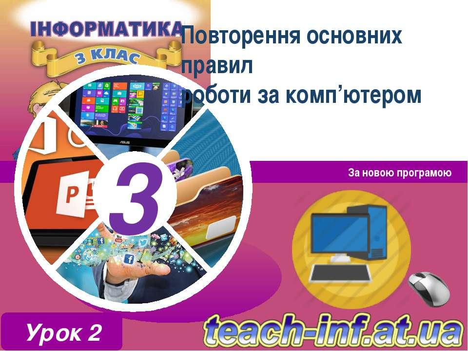 Повторення основних правил роботи за комп'ютером За новою програмою Урок 2 3 3