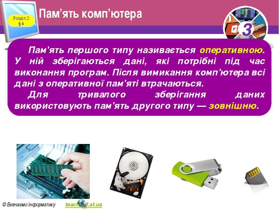 Пам'ять комп'ютера Розділ 2 § 4 Пам'ять першого типу називається оперативною....