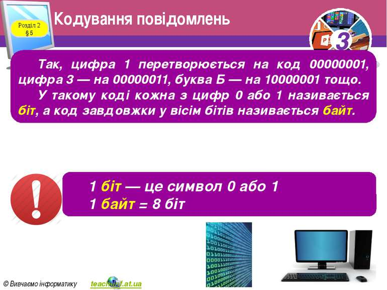 Кодування повідомлень Розділ 2 § 5 Так, цифра 1 перетворюється на код 0000000...