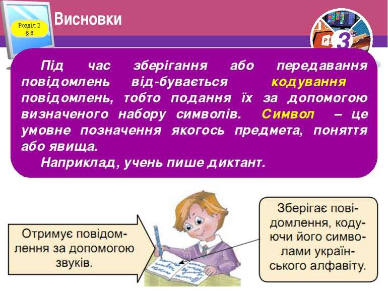 Висновки Розділ 2 § 6 Під час зберігання або передавання повідомлень від бува...