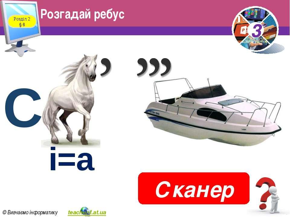 Розгадай ребус Розділ 2 § 6 Сканер і=а С 3 © Вивчаємо інформатику teach-inf.a...