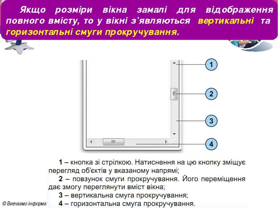 Розділ 3 § 9 Якщо розміри вікна замалі для відображення повного вмісту, то у ...