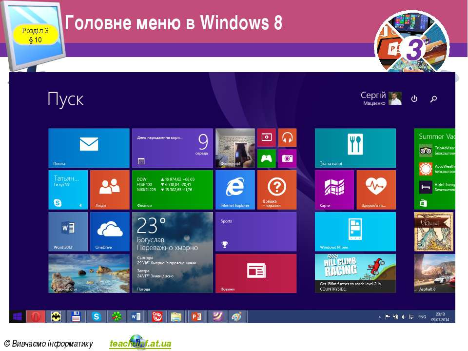 Головне меню в Windows 8 Розділ 3 § 10 3 © Вивчаємо інформатику teach-inf.at....