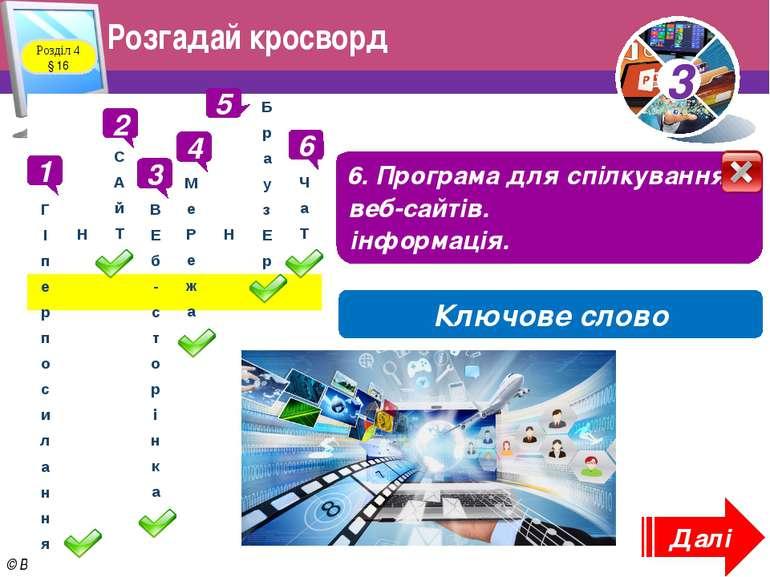 Розгадай кросворд Розділ 4 § 16 1 1. «Дверцята» до інших сторінок 2 2. Електр...