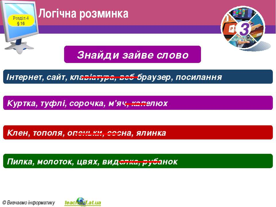 Логічна розминка Розділ 4 § 16 Знайди зайве слово Інтернет, сайт, клавіатура,...