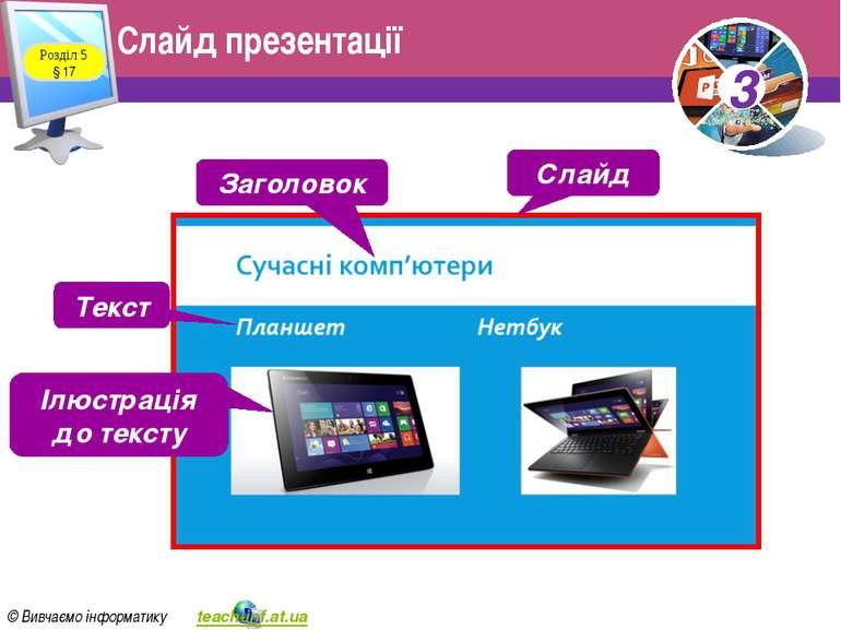 Слайд презентації Розділ 5 § 17 Слайд Заголовок Текст Ілюстрація до тексту 3 ...
