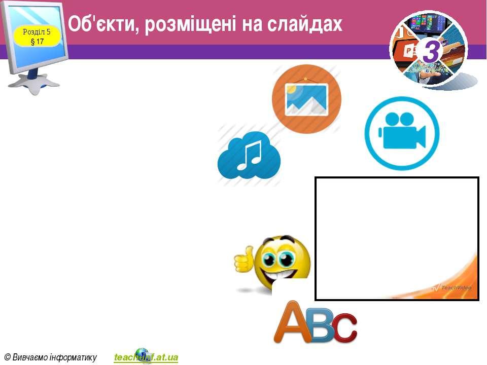 Розділ 5 § 17 Об'єкти, розміщені на слайдах 3 © Вивчаємо інформатику teach-in...