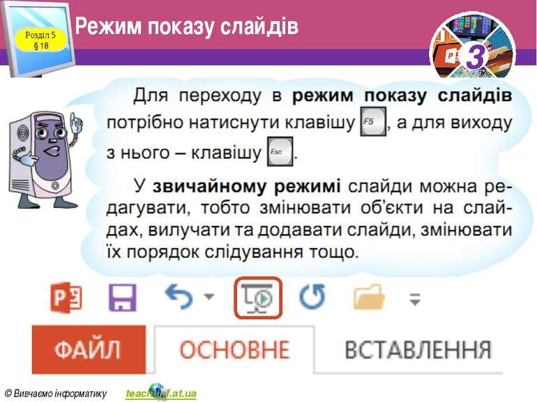Режим показу слайдів Розділ 5 § 18 3 © Вивчаємо інформатику teach-inf.at.ua 3