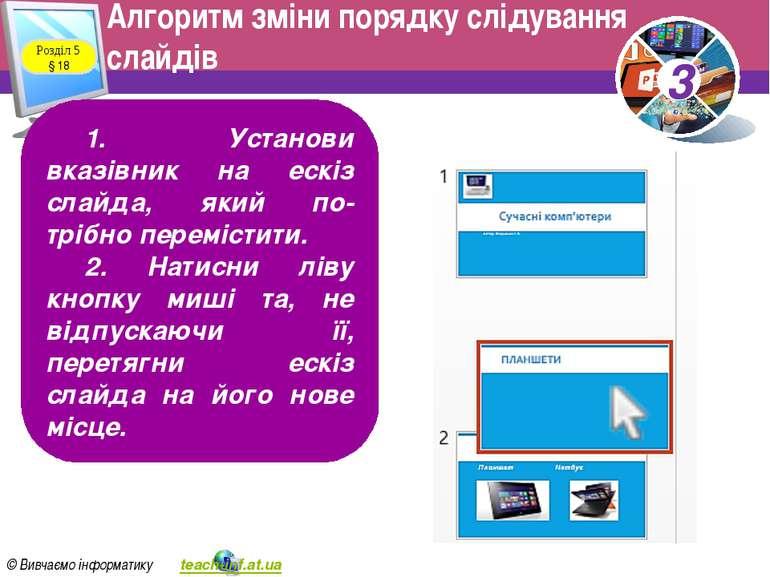 Алгоритм зміни порядку слідування слайдів Розділ 5 § 18 1. Установи вказівник...