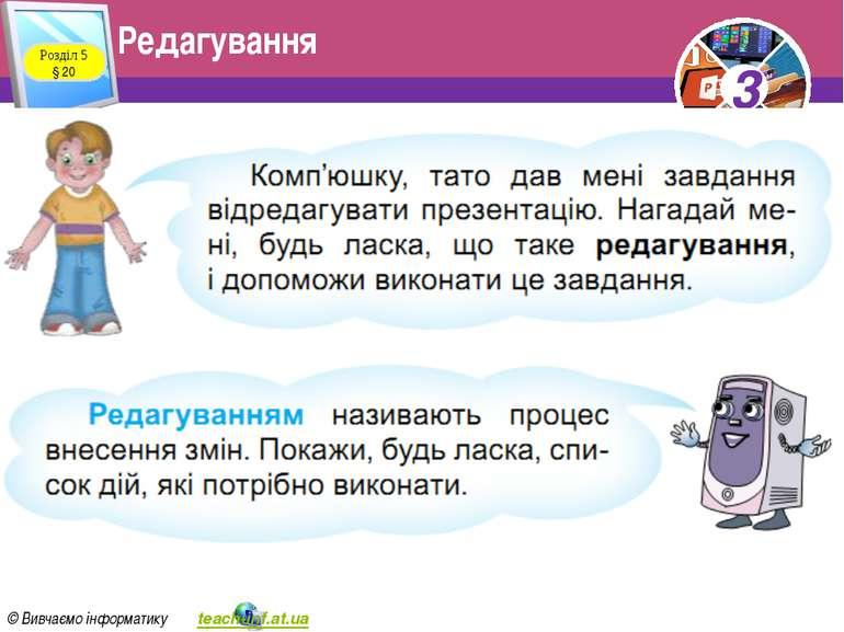 Редагування Розділ 5 § 20 3 © Вивчаємо інформатику teach-inf.at.ua 3