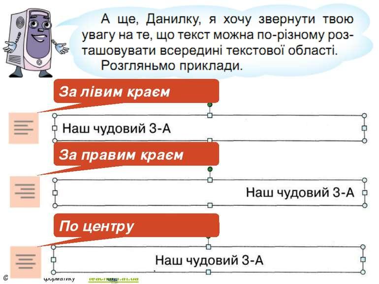 Розділ 5 § 21 За лівим краєм За правим краєм По центру 3 © Вивчаємо інформати...