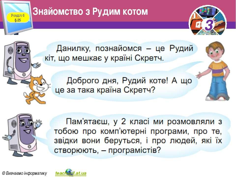 Знайомство з Рудим котом Розділ 6 § 25 3 © Вивчаємо інформатику teach-inf.at....