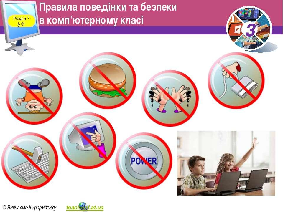 Правила поведінки та безпеки в комп'ютерному класі Розділ 7 § 31 3 © Вивчаємо...