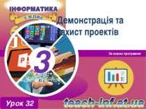 Демонстрація та захист проектів За новою програмою Урок 32 3 3