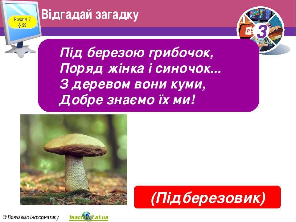 Відгадай загадку Розділ 7 § 33 Під березою грибочок, Поряд жінка і синочок......