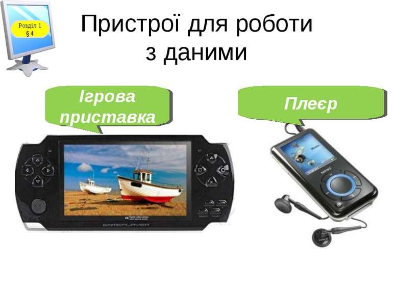 Пристрої для роботи з даними Ігрова приставка Плеєр Розділ 1 § 4