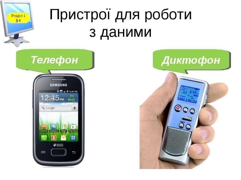 Пристрої для роботи з даними Телефон Диктофон Розділ 1 § 4