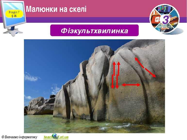 Малюнки на скелі Розділ 7 § 35 Фізкультхвилинка 3 © Вивчаємо інформатику teac...