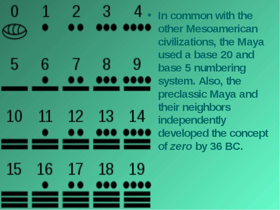 In common with the other Mesoamerican civilizations, the Maya used a base 20 ...