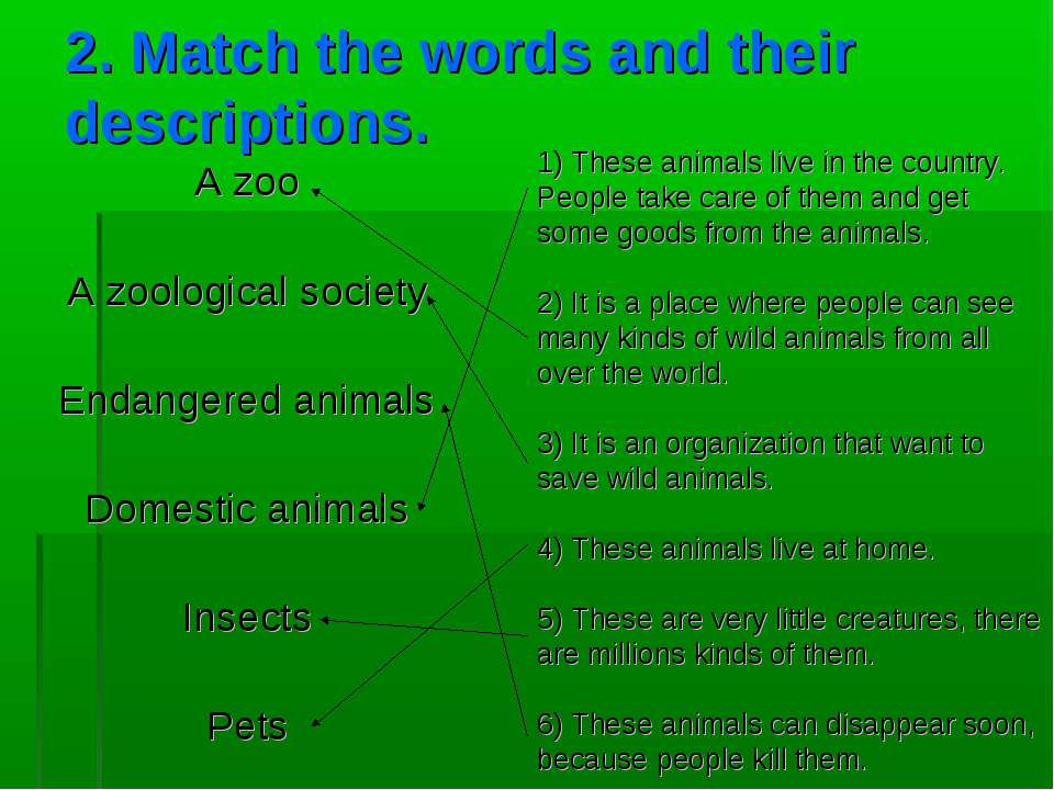 2. Match the words and their descriptions. A zoo A zoological society Endange...