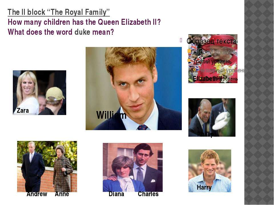 "The II block ""The Royal Family"" How many children has the Queen Elizabeth II?..."