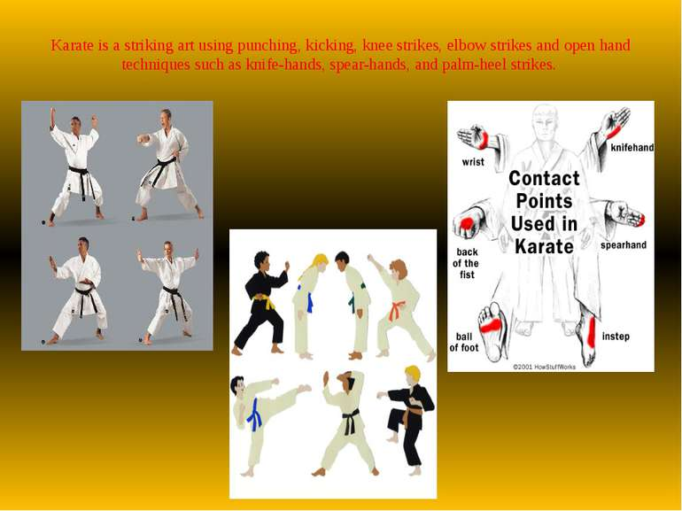 Karate is a striking art using punching, kicking, knee strikes, elbow strikes...