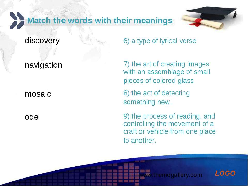 Match the words with their meanings discovery 6) a type of lyrical verse navi...