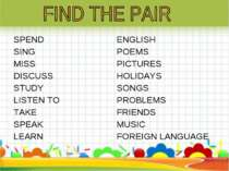 SPEND SING MISS DISCUSS STUDY LISTEN TO TAKE SPEAK LEARN ENGLISH POEMS PICTUR...