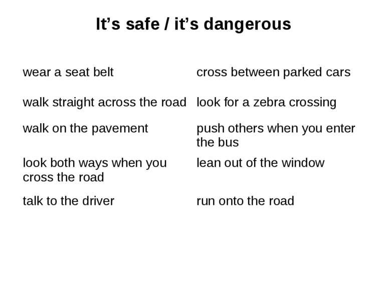It's safe / it's dangerous wear a seat belt cross between parked cars walk st...