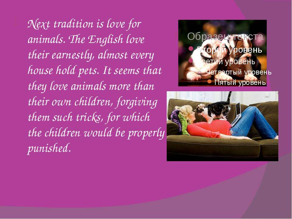Next tradition is love for animals. The English love their earnestly, almost ...
