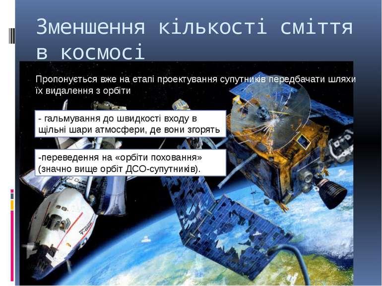 Зменшення кількості сміття в космосі Пропонується вже на етапі проектування с...