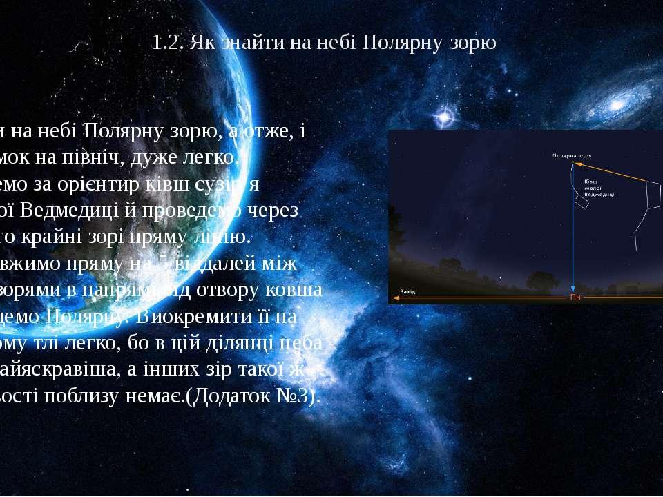 1.2. Як знайти на небі Полярну зорю Знайти на небі Полярну зорю, а отже, і на...