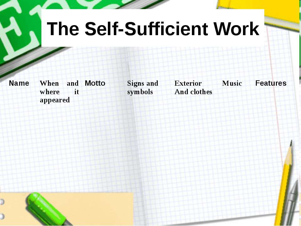The Self-Sufficient Work Name When and where it appeared Motto Signs and symb...