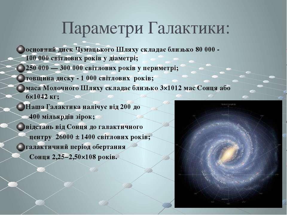 Параметри Галактики: основний диск Чумацького Шляху складає близько 80 000 - ...