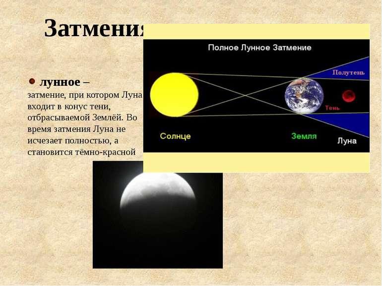 лунное – затмение, при котором Луна входит в конус тени, отбрасываемой Землёй...