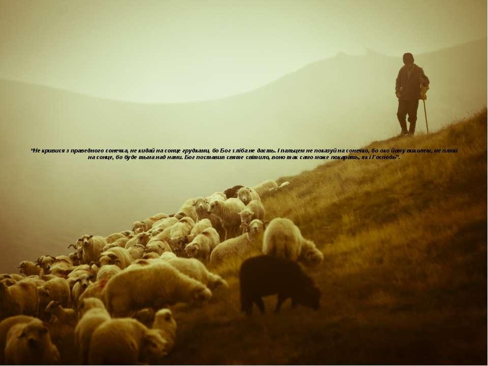 """Не кривися з праведного сонечка, не кидай на сонце грудками, бо Бог хліба не..."