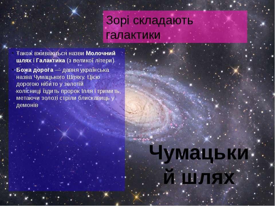 Також вживаються назвиМолочний шляхі Галактика(з великої літери) Божа доро...