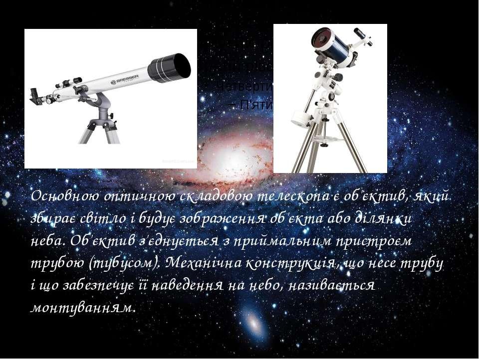 Основною оптичною складовою телескопа є об'єктив, який збирає світло і будує ...