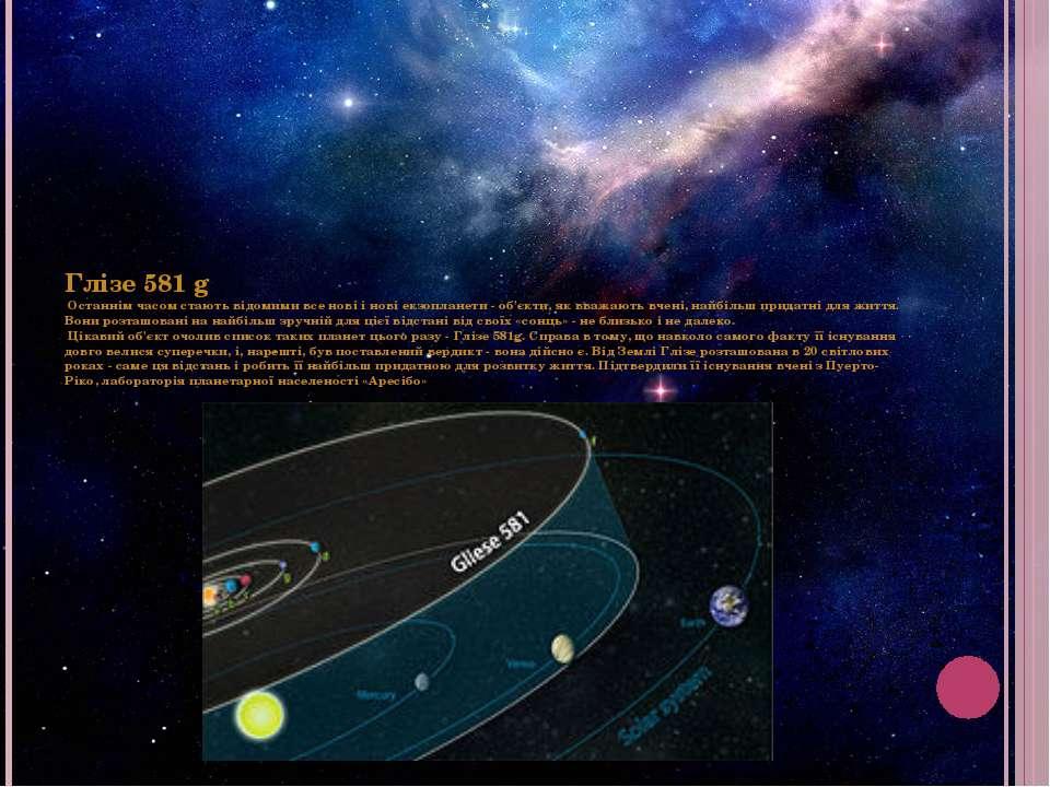 Глізе 581 g Останнім часом стають відомими все нові і нові екзопланети - об'є...