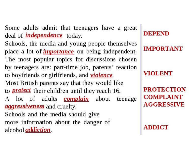 Some adults admit that teenagers have a great deal of independence today. Sch...