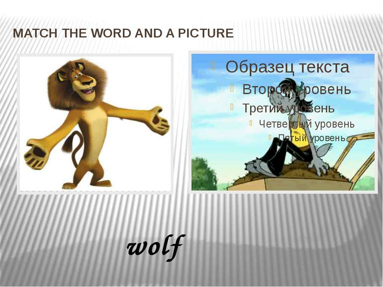 MATCH THE WORD AND A PICTURE wolf