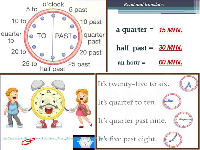 a quarter = half past = an hour = Read and translate: 60 MIN. 15 MIN. 30 MIN....