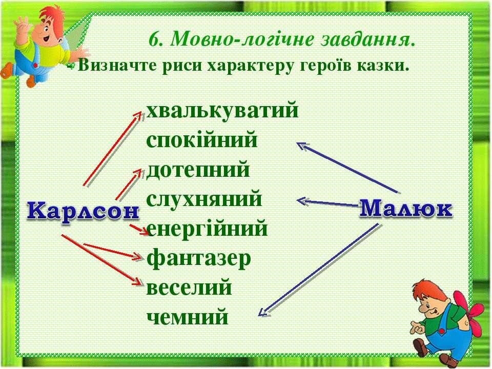 6. Мовно-логічне завдання. - Визначте риси характеру героїв казки. хвалькуват...